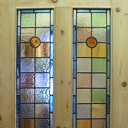 Victorian front doors 4 panel door with stained glass for Victorian stained glass window film