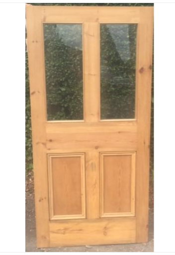 Beautiful Pine Door 4 Panel Victorian Top Glazed Safety