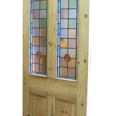 Victorian Front Doors 4 Panel Door With Stained Glass Top Panels