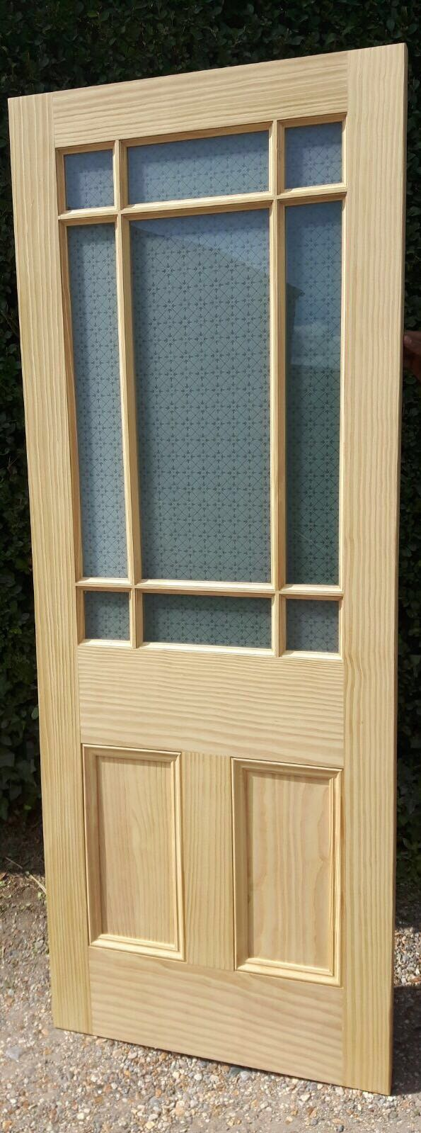 lightbox & NEW SOLID 9 Panel Glazed Glass Pine INTERIOR Door Solid Wood Clear ...